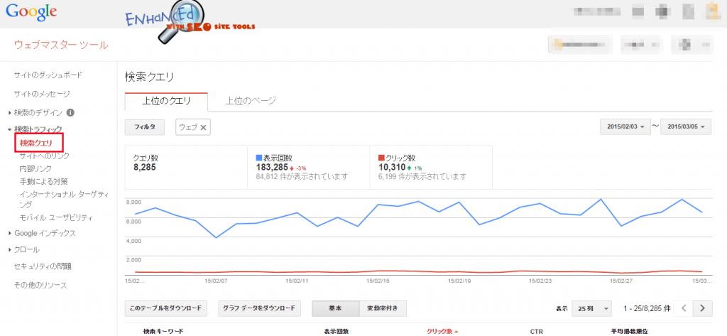 ウェブマスターツール【検索クエリ】