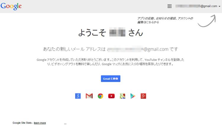 Googleアカウントの取得完了画面
